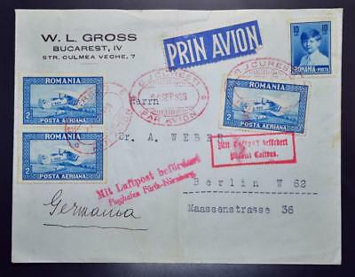 ROMANIA to GERMANY 1929 Scarce early Airmail Cover Bucuresti to Berlin ,Rumänien