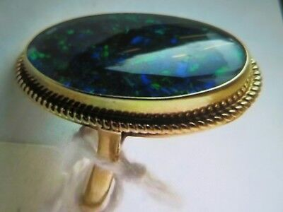 Rare Antique Victorian Large Black Opal  9ct Gold Ring