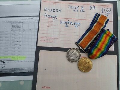 WW1 medal pair MEADEN Devon Regiment Great War medals
