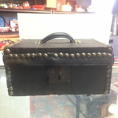 Antique Leather and Wood Small Valuables Box/trunk With Lock