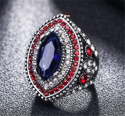 Vintage Men's Silver plated Inlaid Blue Stone Red Crystal Female Ring Size 9 NEW