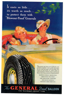 1935 GENERAL Dual-Balloon Tires vintage Original Print AD - Woman and child art