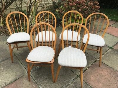 Vintage Retro Set Of 6 Ercol Windsor Kitchen Dining Chairs Mid Century