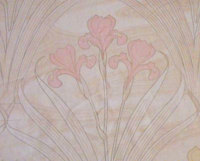 BEAUTIFUL ANTIQUE FRENCH ART NOUVEAU LINEN & COTTON IRISES c1900  139.