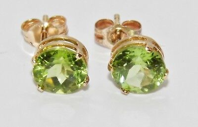 9Ct Gold Peridot Solitaire Stud Earrings -