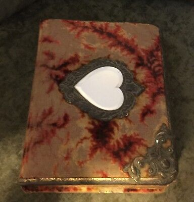 Antique Victorian Edwardian Ornate Photo Album W/Heart Shaped Mirror 30 photos