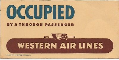 """1947 Western Airlines Card """" Occupied by a Through Passenger """" w/ Logo"""