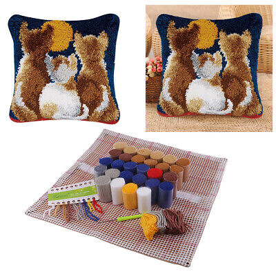 Animal Flower Latch Hook Rug Kits Pillow Cushion Cover Making for Kids Beginners