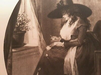 Antique Print Woman Doing Needlework in Hat by Window with Basket