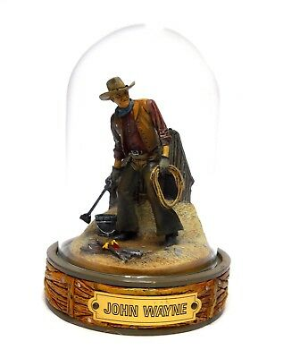 John Wayne With Branding Iron Franklin Mint Hand Painted Sculpture In Dome