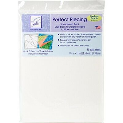 "June Tailor Perfect Piecing Quilt Block Foundation Sheets-8.5""x11"" 50/pkg"
