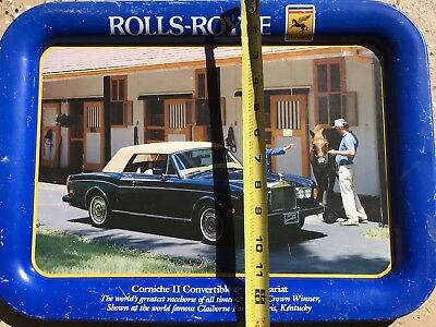 Vintage Metal Serving Tray Rolls Royce Corniche Secretariat Horse Racing 1989