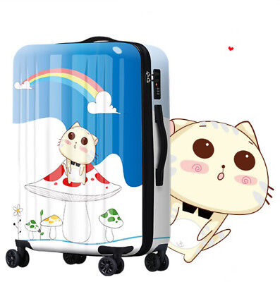 E368 Universal Wheel Cartoon Cat Rainbow Travel Suitcase Luggage 20 Inches W