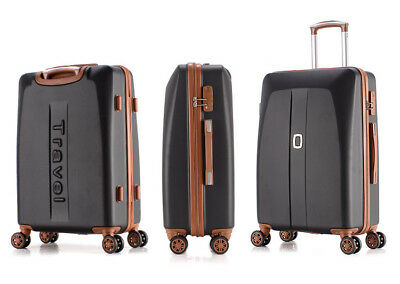 E889 Black ABS Universal Wheel Coded Lock Travel Suitcase Luggage 20 Inches W