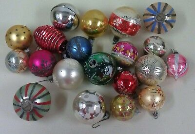 Vintage Lot of 20 Glass Ball Christmas Ornaments
