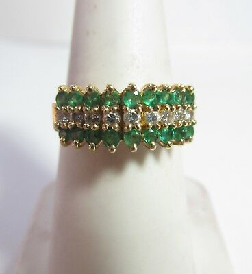 Ladies Vintage 14K Gold Natural Emerald And Diamond Ring