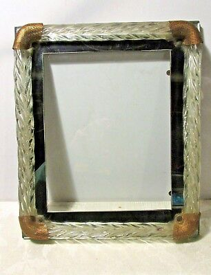 Vintage Twisted Glass/Crystal Brass & Mirror Trim Picture Frame Murano Type