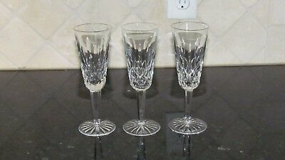 SPARKLING Waterford Crystal Lismore Champagne Flutes (3)