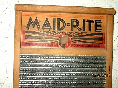 MAID-RITE No. 2072 Brass Columbus Washboard Co. Primitive Large, from Wisc. Farm