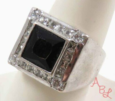 Sterling Silver Vintage 925 Channel Set Black Onyx Ring Sz 9 (12g) - 745615