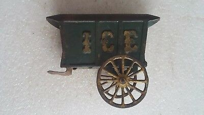 "ANTIQUE Vintage Cast Iron ICE WAGON Cart 2.5"" Wheels * Green Yellow, Horse Drawn"