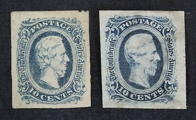 CKStamps: US Confederate States Stamps Collection Scott#11 12 Unused NG Thin