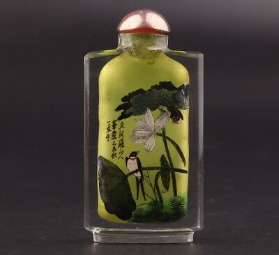 Rare Glass Inner Wall Painting Lotus Leaf Snuff Bottle Sealed Christmas Gift