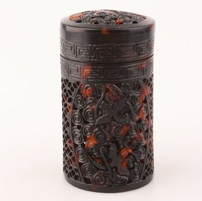 Retro Chinese Handmade Carved Bird Statue Hollowed Out High-End Jewelry Box