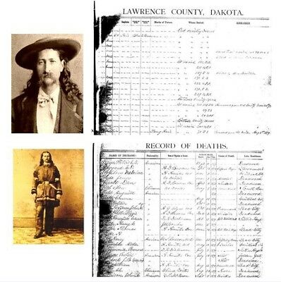 Wild Bill Hickok 1876 DEATH CERTIFICATE + 2 PHOTOS Deadwood,Gunfighter,Sheriff