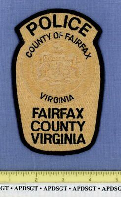FAIRFAX COUNTY POLICE VIRGINIA Sheriff Police Patch UNUSUAL COLOR LIGHT GOLD