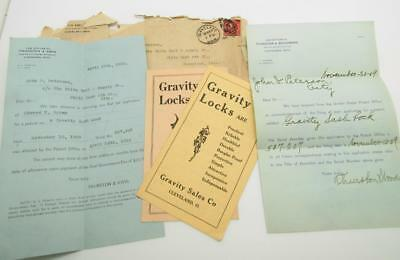 Patent Legal Documents Advertising Receipts 1909 Gravity Locks for Windows