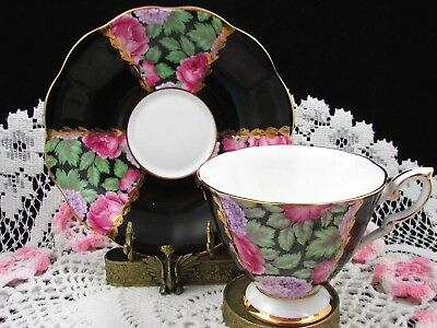 Royal Standard Pink Roses Purple Hydrangea Black Tea Cup And Saucer