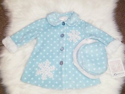 Baby girl winter coat 3-6 months bonnie baby snowflake jacket matching hat NEW