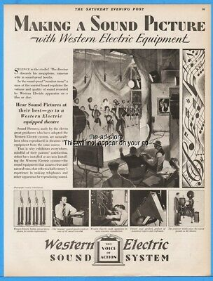 1929 Western Electric Movie Sound System Talking Picture Microphone Theatre Ad