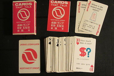 Vintage 1970s Northwest Orient Playing Cards English to Japanese/Korean/Chinese