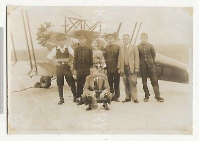 Original Wwii Japanese Photo: Early Pilots And Aircraft!!