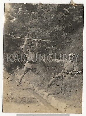 Original Wwii Japanese Photo: Army Soldiers Fighting, Rifles!!