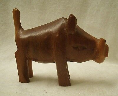 vintage African Hand Carved Wood Warthog Figurine Kenya 1980s wild animal