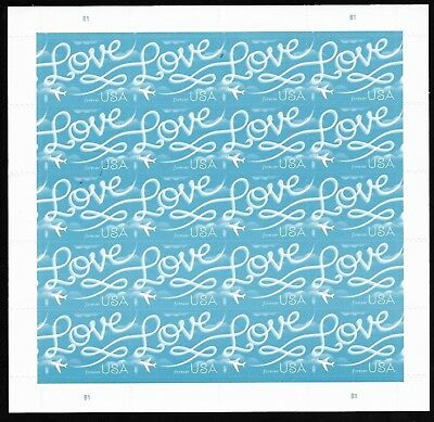 #5155 Love Skywriting. US Forever Stamps 2018 Issue - MNH Sheet of 20.