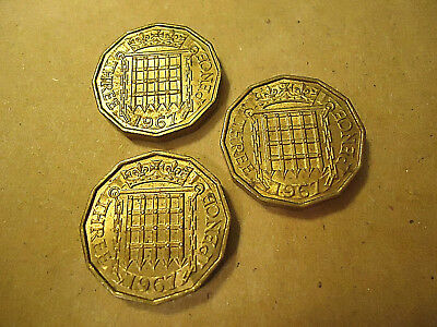 Lot Of 3 1967 English Three Pence Brass Coins  ****   >>Combined Shipping<<