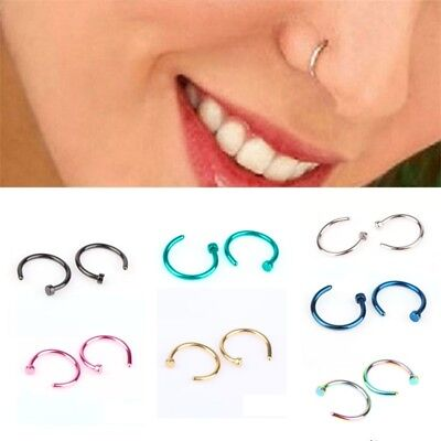 5PCS Surgical Steel Open Nose Ring Hoop Lip Ring Small Piercing 7 Colour 2 Size