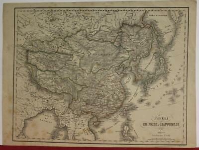 China Korea Japan 1850 Civelli Antique Original Colored Lithographic Map