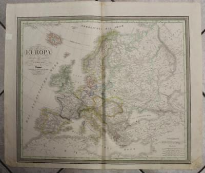Europe 1828 Carl Ferdinand Weiland Large Antique Original Copper Engraved Map