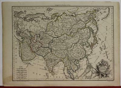 Asian Continent 1812 Pierre Lapie Antique Original Copper Engraved Map