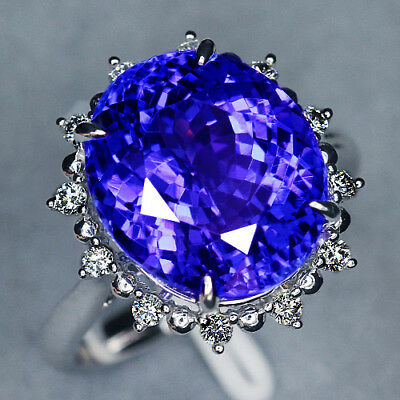 VVS 10.18Ct 100% Natural 14K White Gold Violet Blue Tanzanite Diamond Ring CTEK7