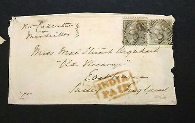 INDIA QV 4As PAIR USED ON COVER FROM EAST BOURNE SIMLA TO SUSSEX ENGLAND