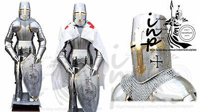 Medieval Knight Suit Of Armor Templar Combat Full Body Stainless Steel Armour
