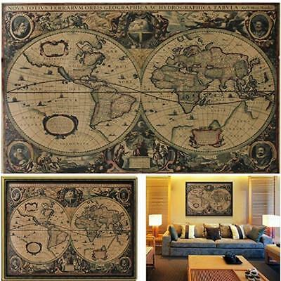 Retro Globe Old World Map Matte Brown Paper Poster Living Room Home Decor WO