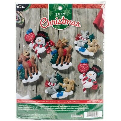 "Bucilla Felt Ornaments Applique Kit 5""x5"" Set Of 6-santa Stop"