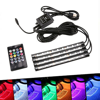 4pcs RGB 7 Color LED Neon Strip Light Music Remote Control Car Interior Lighting